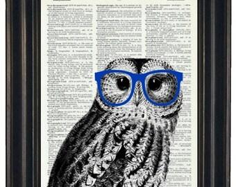 BOGO 1/2 OFF Owl Print Owl with Glasses Owl Art Print Owl Decor Owl Head Dictionary Book Page Print HHP Original Owl with Blue Glasses