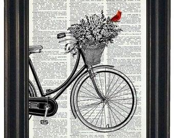 BOGO 1/2 OFF  Dictionary Art Print Bicycle Basket of Flowers Cardinal Print Book Print Bird and Bicycle  Dictionary Book Page HHP Original