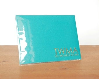 aerogram fold and mail turquoise envelope notebook: twma till we meet again