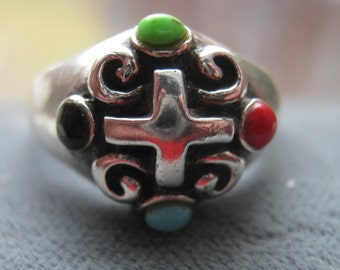 Vintage Sterling Silver Ring with Cross and Faux Gemstones Turquoise Onyx Coral Ladies Size 7