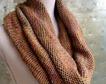 Infinity Scarf Circle Scarf Chunky Knit Cowl Brown Multicolor - Industrial Whimsy - Ready to Ship
