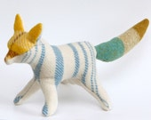 Fantastic Mr Fox in White / Soft Sculpture Eco Art Doll Recycled Vintage Wool All Natural Wool Filling