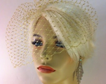 "Birdcage Veil, Metallic Gold or Silver, Ivory, White, Black 9"" Birdcage Blusher Veil on Comb, Bridal Veil, Wedding Veil"