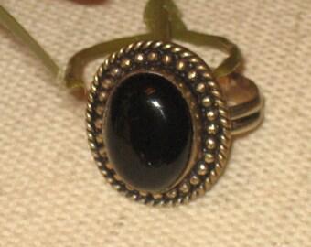 Black Stone Ring, Ornate Designed, Silver Setting