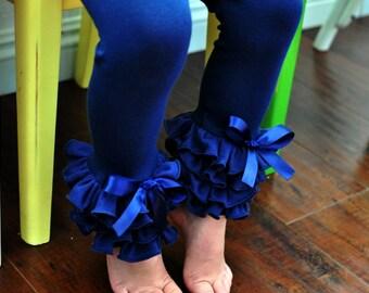 Navy Leggings with Full Ruffles / Toddler Girls Leggings---2T-5T