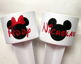 Mickey or Minnie Mouse Beach Cup Holder,  Monogrammed Drink Sand Spiker, Personalized Family Vacation Travel Gift, White with Mouse Ears
