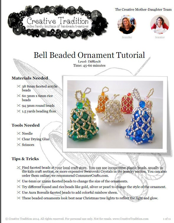 Bell beaded ornament tutorial pdf download