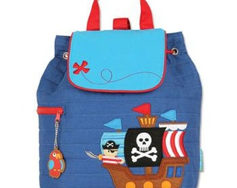 SHIPS NEXT DAY--Personalized Monogrammed Stephen Joseph Quilted Toddler Pirate Ship Backpack--Free Monogramming--
