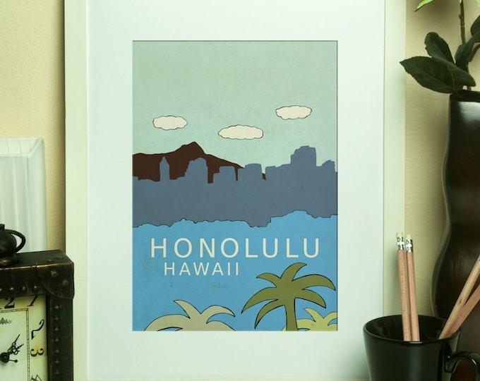 Honolulu Hawaii // Nursery Decor, Art Poster, Typography Print, Tropical Theme, Island, Vacation, Giclee, Travel Theme, Map, Digital