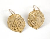 Yellow gold earrings,Lace Leaf earrings, 24 karat gold plated earrings,goldfield hook