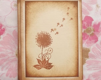 Dandelion Wish Greeting Card.....  All Occasion, Blank, Aged, Flower, Floral