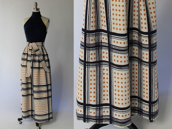 1960s Cole of California Geometric Print Gown // Long Full Skirt // Fitted Sleeveless Top // Medium