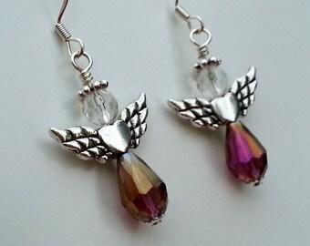 Native American Beaded Earrings - Heart Wing Angels - Amethyst Purple AB