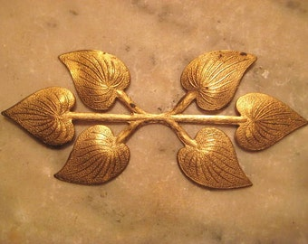 "Large Vintage Brass Leaf Stamping, 6 Detailed Dapt (Dapped) Leaves, Jewelry Finding or Embellishment, 3.5 x 1.5"" (approx. 89x38mm), 1pc."