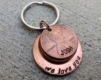 "We / I love you  1"" Circle penny keychain with 2 or more  -Made to Order-"