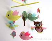 Spring Birds and Owls Mobile - Baby Mobile - Hanging Nursery Crib mobile - Adorable birds love Flowers (Choose Your Felt Color)