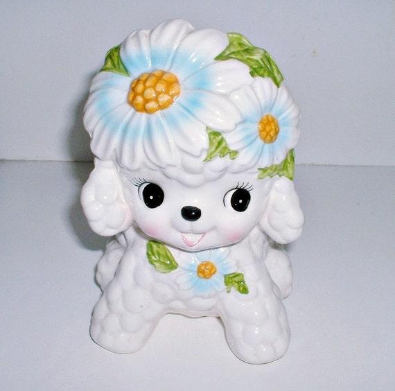 Relpo Nursery Planter Baby Lamb Big Eyes  with Flowers Mid Century Vintage 1960's