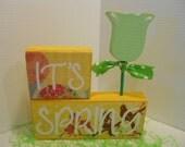 SPRING, Yellow & Mint Green, Word Blocks Set