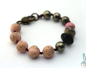 Golden rose - bracelet with pyrite, handmade ceramic, lampwork glass bead and vintage lucite
