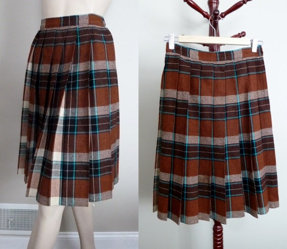 60s plaid pleated skirt brown turquoise wool by