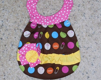 Polka Dots and Baby Faces Flowered Bib