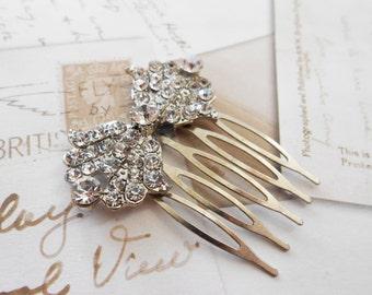 Art Deco Bow Hair Comb - Rhinestone Bridal Comb - Princess