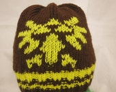 Hyrule brown/yellow knit beanie