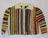 Child's Multi-colored Sweater, Kids Colorful Sweater, Toddler Handmade Sweater