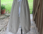 linen pant bloomer knicker britches girlie pantaloon boho natural/white stripe ready to ship