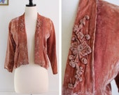 ON SALE! 1930s 1940's Dusty Pink Velvet Jacket with Floral Appliqué Details