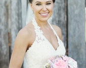 Alternative Bridal Bouquet - Custom Medium Brooch Bouquet - Romantic Silk Flowers & Enamel Brooches - Rhinestones - Pinks - Made to Order