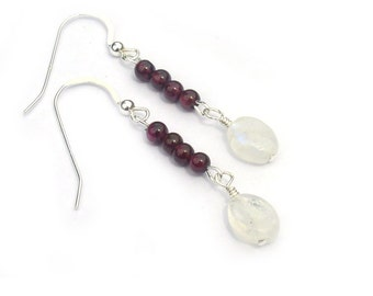 Garnet Earrings with Moonstone Sterling Silver