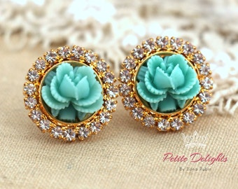 Rose earrings,Swarovski earrings,Turquoise Earrings,Gift for her,Flower Earrings,Christmas Gift,Turquoise Crystal Earrings,Shabby Chic Studs