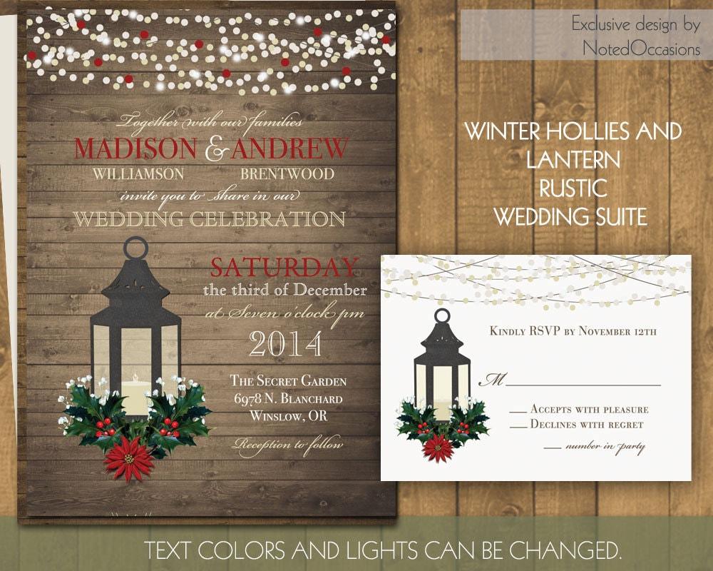 Winter Themed Wedding Invitations: Rustic Winter Wedding Invitation Set Printable By