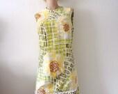 1960s Op Art Floral Print Dress - mod cotton drop waist a-line sheath - vintage resort wear