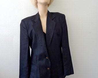 Black Linen Jacket  by Sisley / italian designer vintage