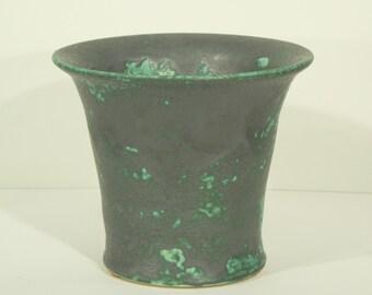 Ceramic Vase, Handmade, Blue Green, Mottled Burnt, Ash Glaze, Decorative, Flared Vessel, Home Decor, MJS, 229