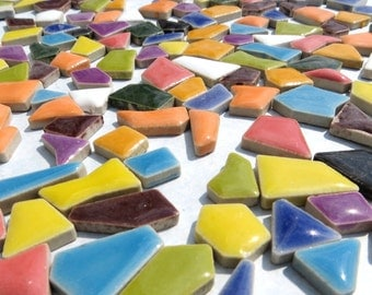 Mosaic Ceramic Tiles - Random Geometric Shapes in Assorted Colors - 50 Tiles
