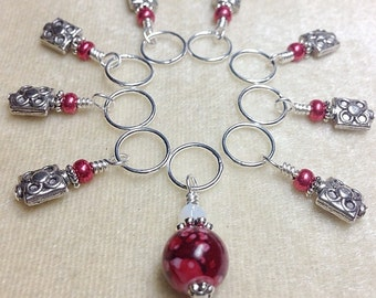 Red Beaded Stitch Markers for Knitting - Gift for Knitters- Snag Free Stitch Marker Set- Mother's Day Gift