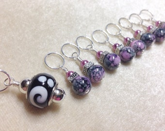 Snag Free Stitch Markers- Beaded Pink & Black Knitting Marker Set- Tools and Supplies- Gift for Knitters