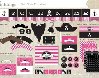 Printable Pirate Party Decorations, Straw Flags, Photo Props, Banner etc  // Pink Pirate Party Collection