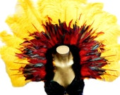 "Runway Model Fire Phoenix  Feather Collar Exotic Brazilian Showgirl 47X36""  Samba Dance Costume"