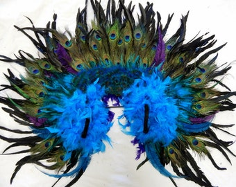 Runway Model Peacock Feather Fantail Backpack Samba Feather Collar