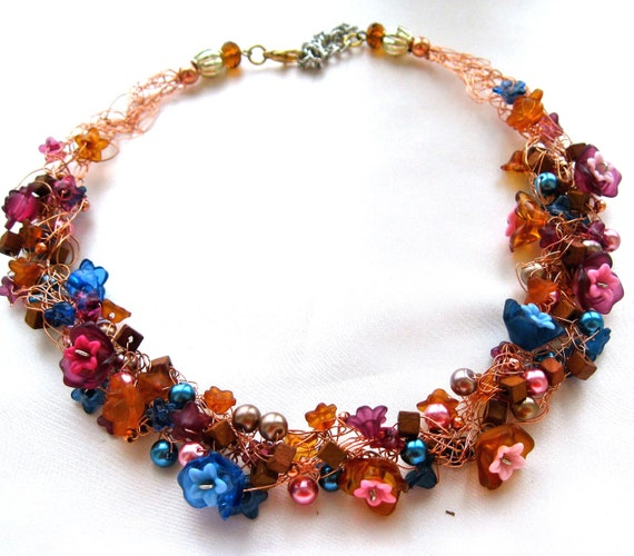MOTHER NATURE'S GARLAND: (Pink, Brown, and Blue Blossoms Woven into a Floral Wire Crochet Necklace)