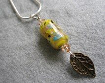 Autumn Leaves, Lampwork Glow-In-The-Dark Glass Bead Pendant