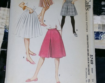 "1960s McCall's Pattern 5749 Teen Culottes and Skirt  Size Waist 24"", Factory Folds, Uncut"