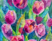 Collage Watercolor Tulips Music by Artist Martha Kisling