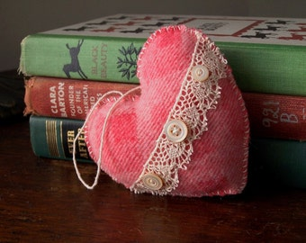 Heart Ornament- Pink lace and buttons