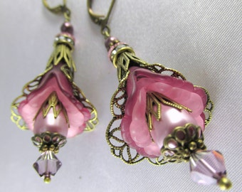 Pink Mauve Brass Flower Earrings with Swarovski Pearls and Crystals