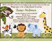 "Personalized/Customized ""Jungle Buddies/Pals Safari Animals"" Printable Baby Shower Invitation 5x7 U Print yourself"
